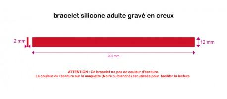 Silicone - gravé creux - ADULTE (202*12*2mm)